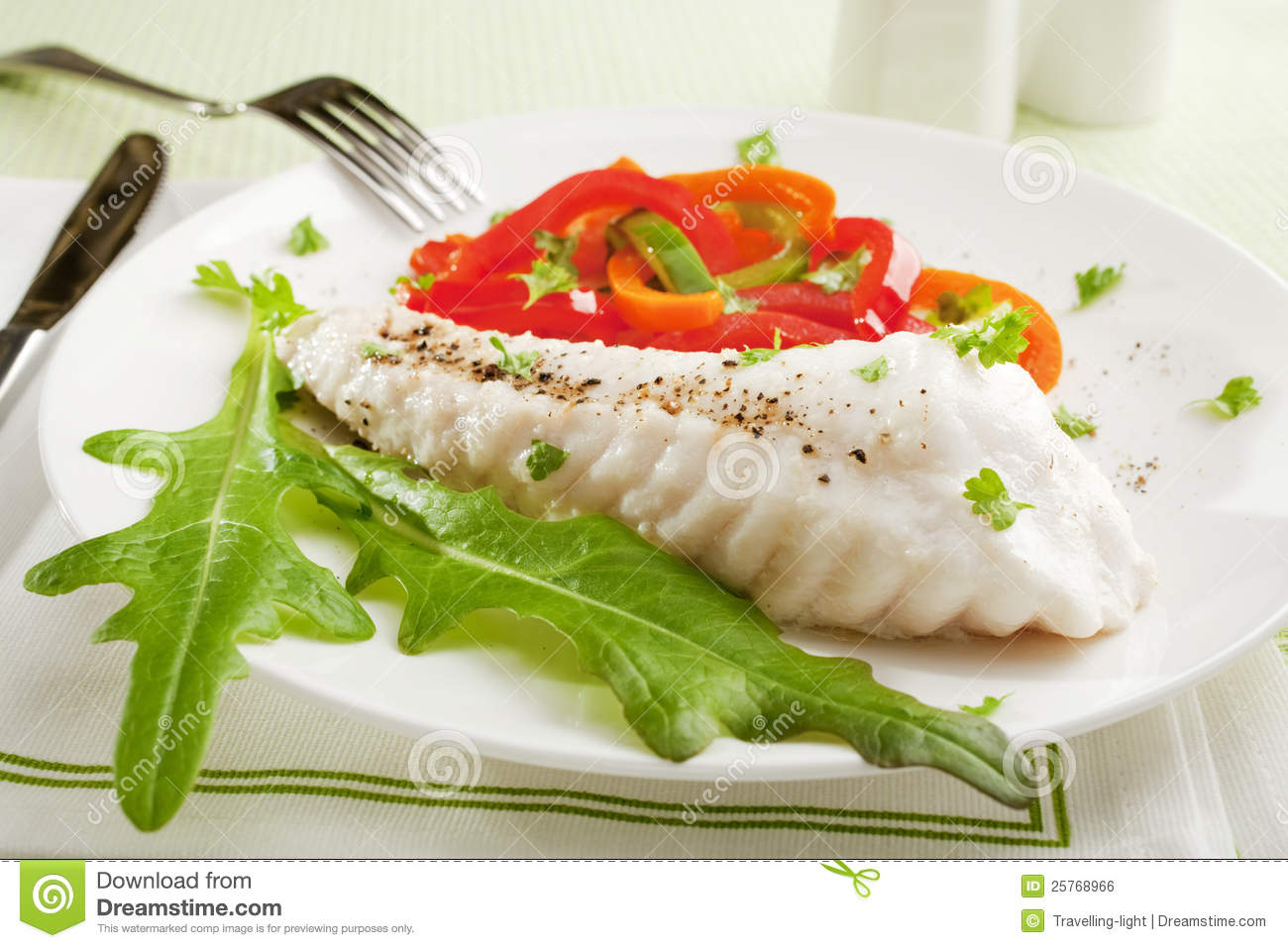 Fish dinner stock photo image of capsicums lettuce for Fried fish dinner