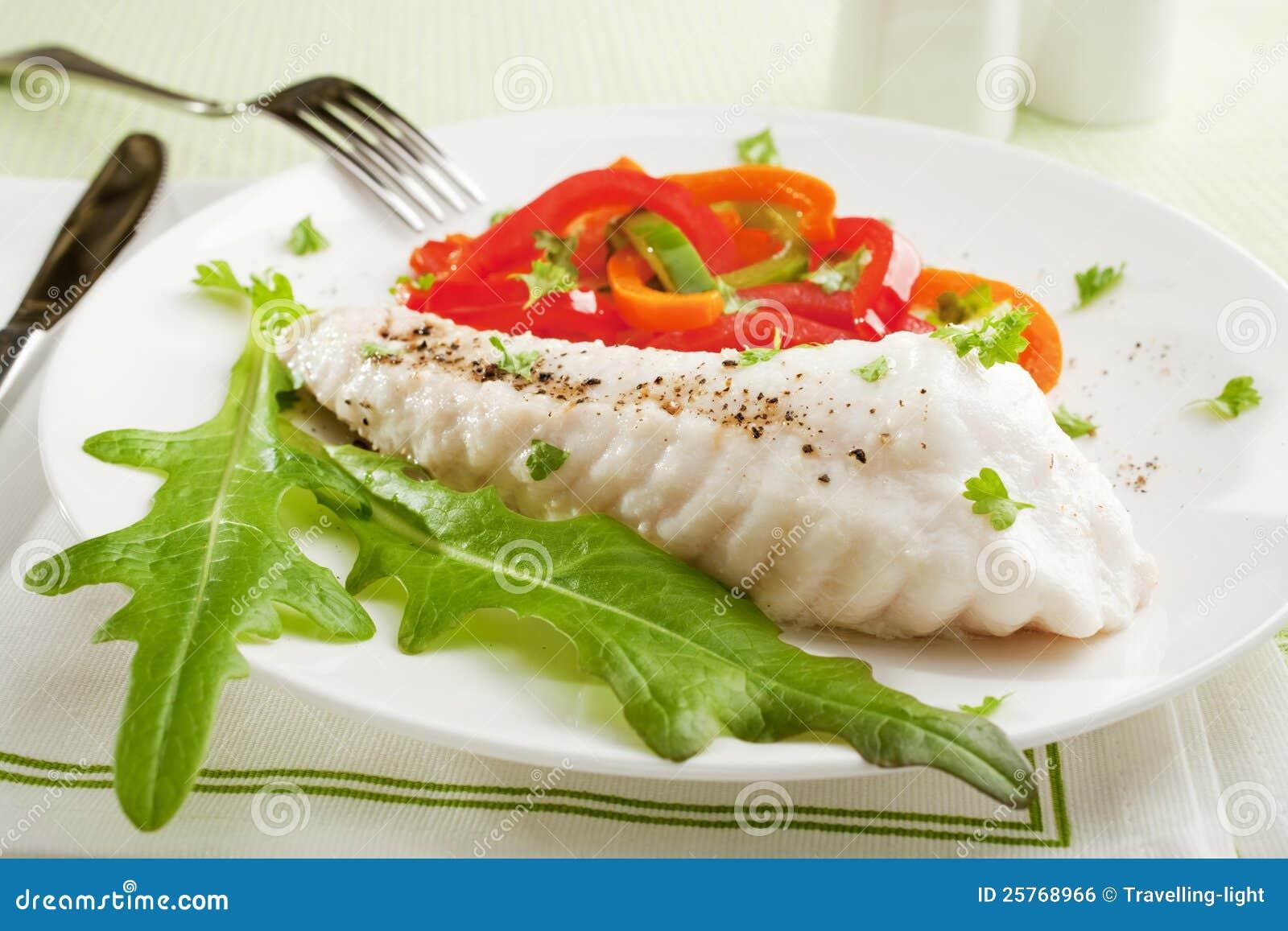 Fish dinner stock photo image of capsicums lettuce for Best fish dinner near me