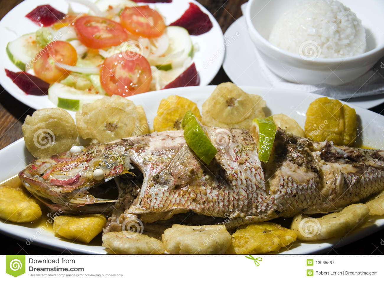 Fish dinner tostones corn island nicaragua stock image for Fish dishes for dinner