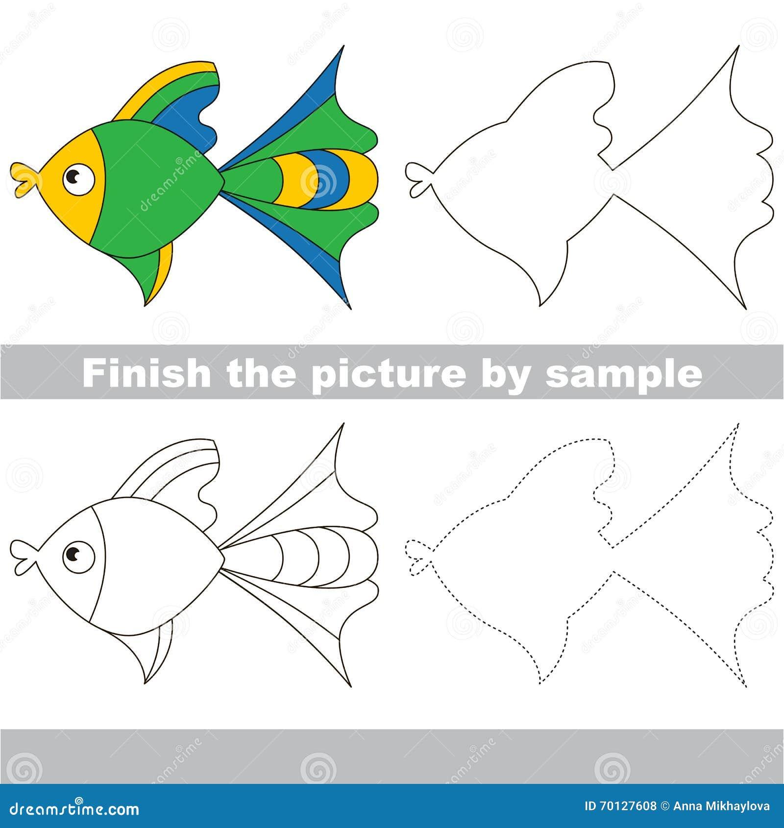 Fish Drawing Worksheet Vector Image 70127608 – Fish Worksheet