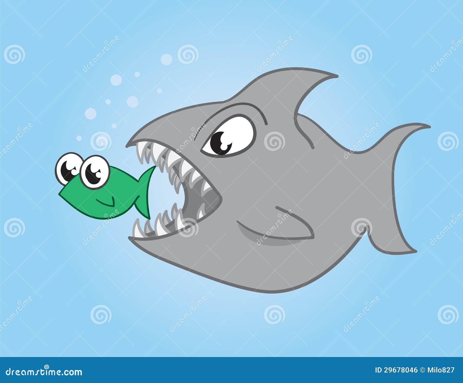 Shark eating a fish cartoon the image for Big fish eat small fish