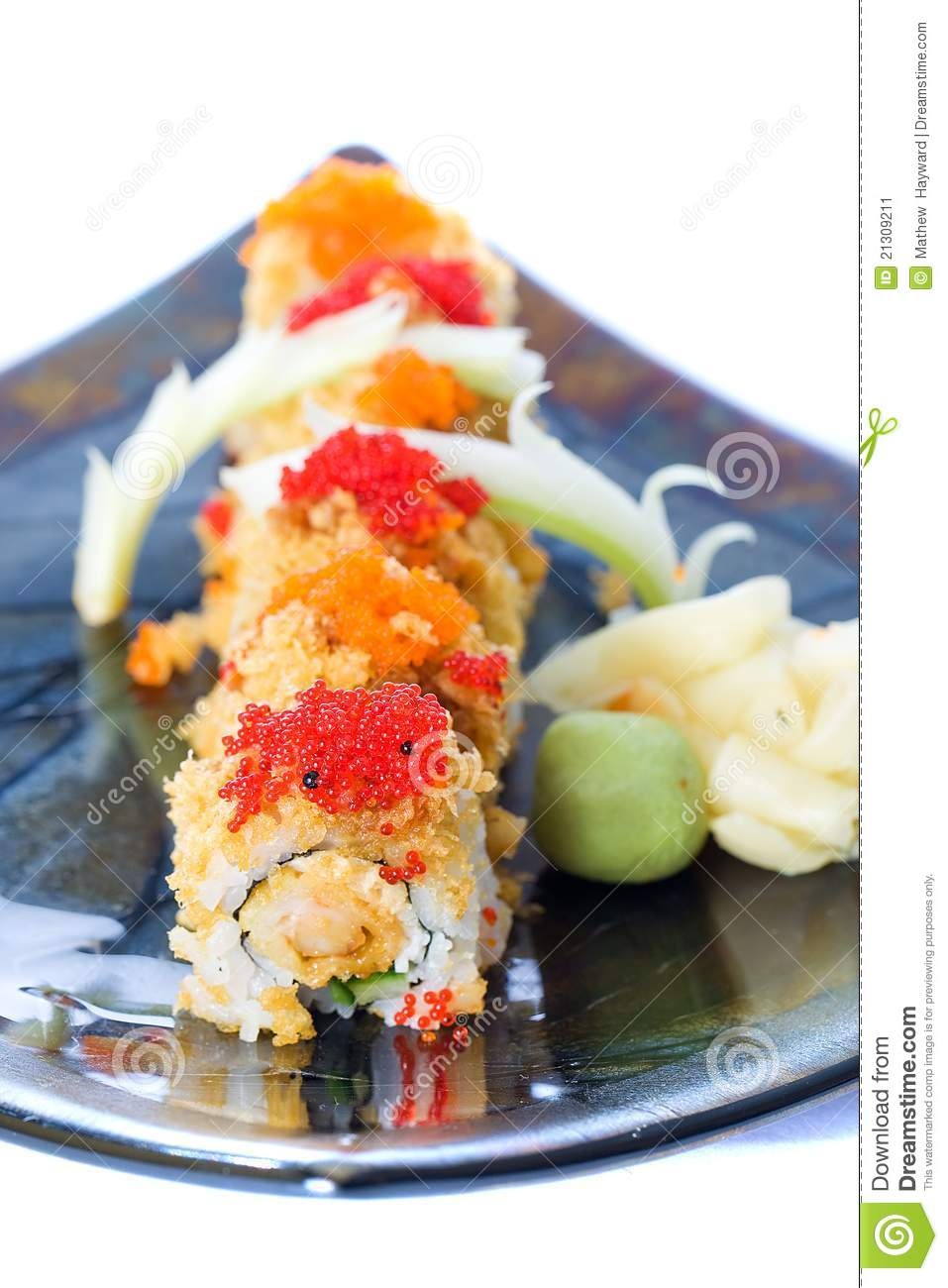 Fish eggs on sushi stock image image 21309211 for Fish eggs on sushi