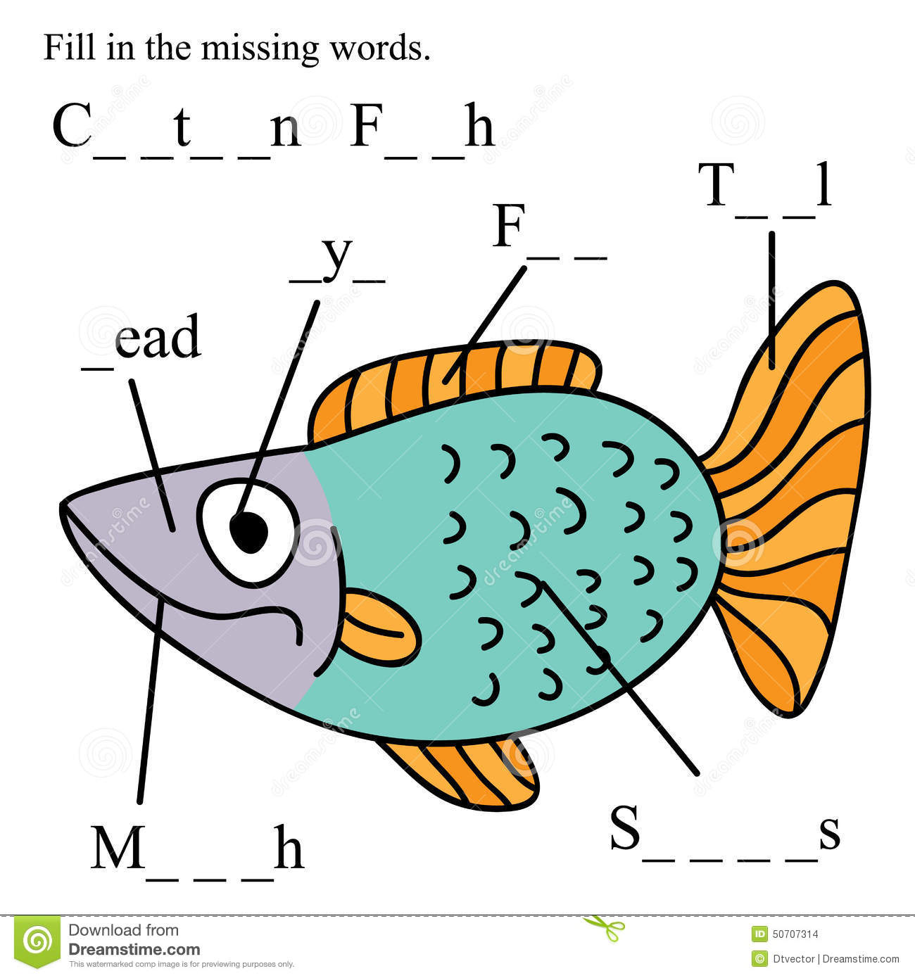 Fish English Fill Missing Words Stock Vector - Image: 50707314