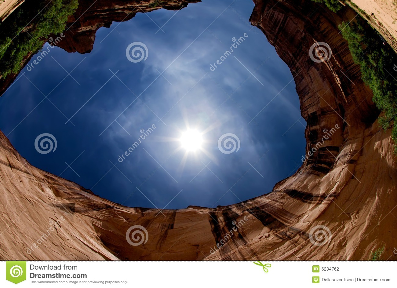 Fish eye view of a canyon and blue sky