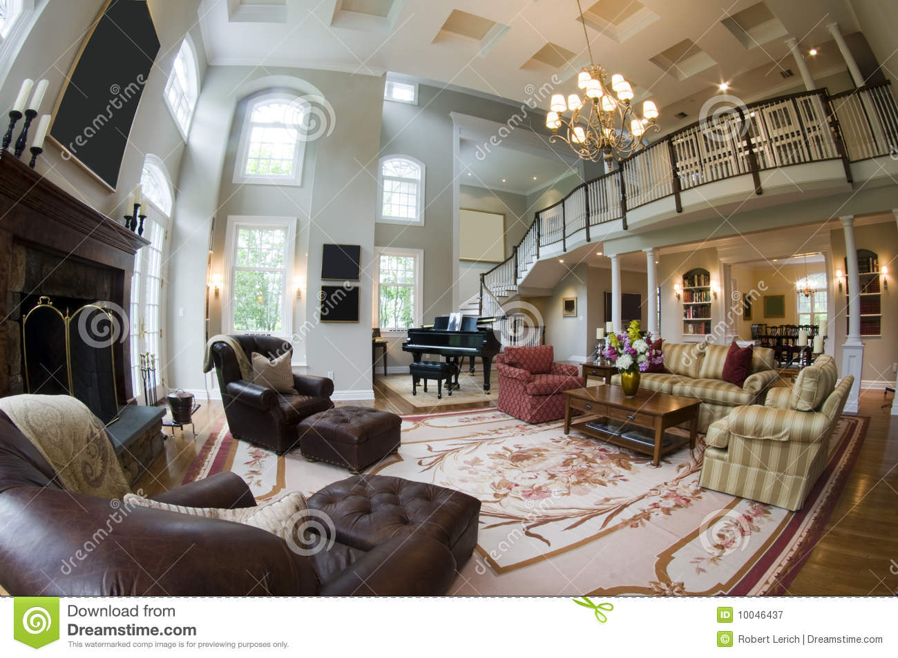 Mansion Living Room With Large Windows Stock Images - Image: 27281404