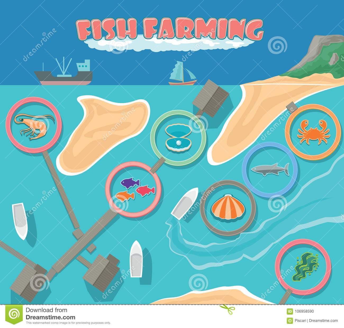 Fish Farm Business Infrasructure, Aerial View Stock Vector
