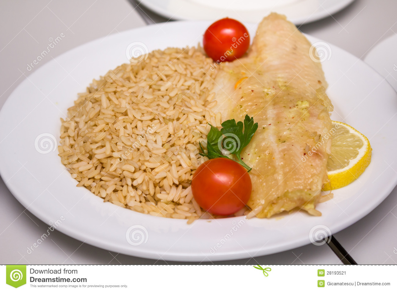 Fish fillet with rice stock image image 28193521 for Fish and rice diet