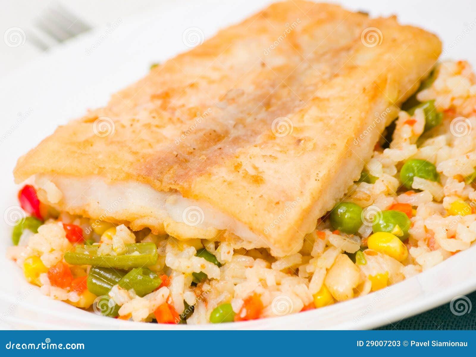 Fish fillet with rice and vegetables stock image image - Arroz con verduras y costillas ...