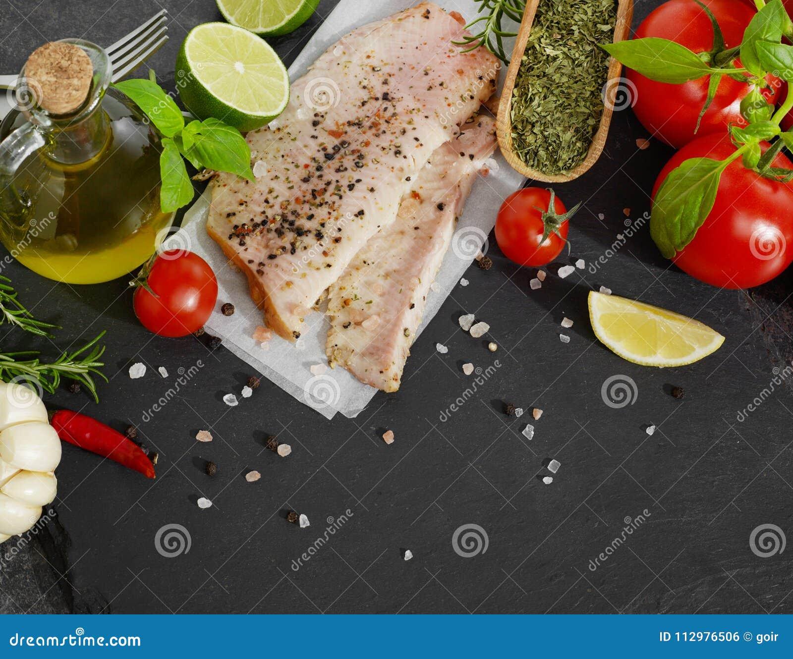 Fish fillet and seasoning