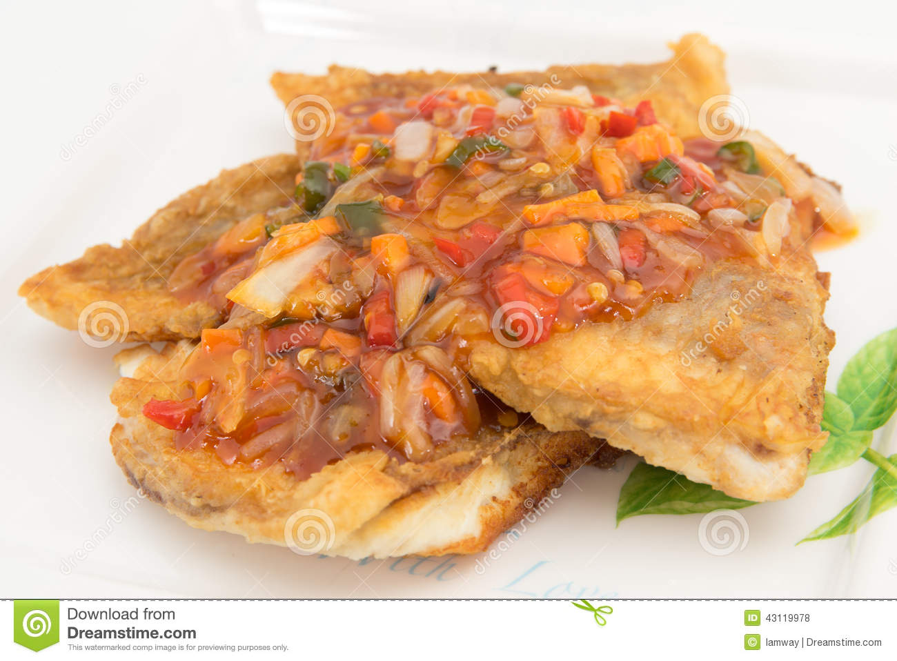 Fish Fillet with three flavor spicy sauce contains garlic, chili sauce ...