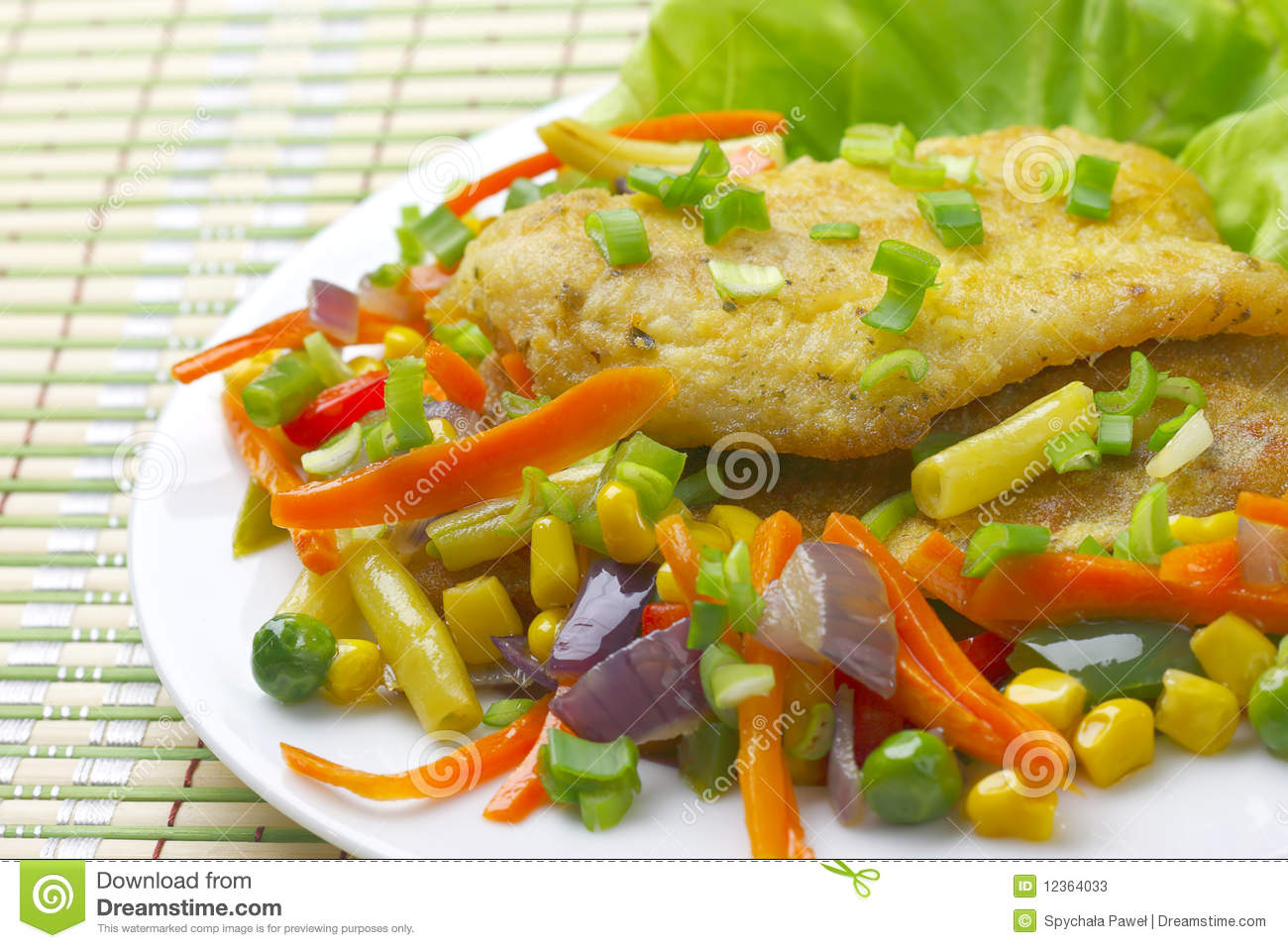 Fish fillet with vegetables stock photos image 12364033 for What vegetables go with fish