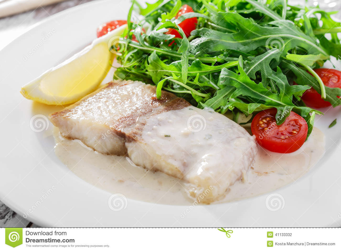 Fish fillet in white sauce stock photo image of fish for White sauce for fish