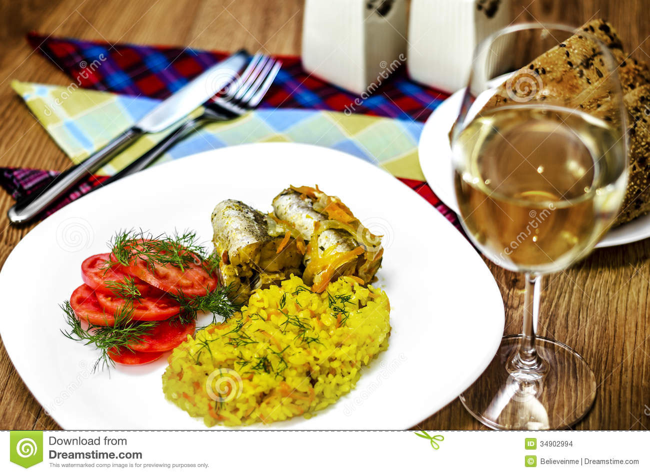 Fish fillet and white wine stock photo image of prepared for White wine with fish