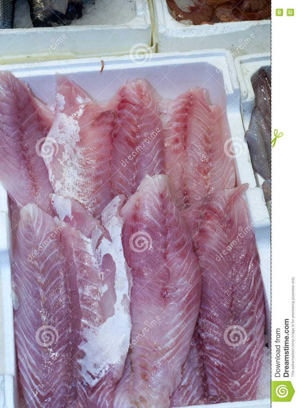 Fish fillets in market stock photo image 79968820 for White fish market
