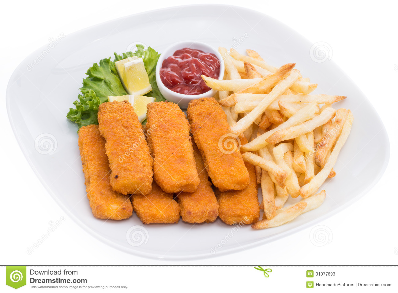 Fish Fingers With Chips Isolated On White Stock Image - Image of fast, food: 31077693