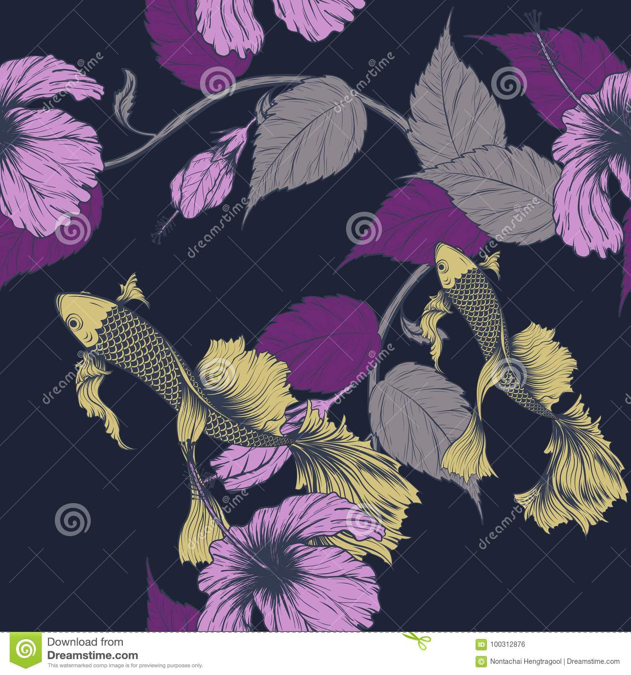 Fish And Flower Seamless Pattern On Vintage Background Stock Vector