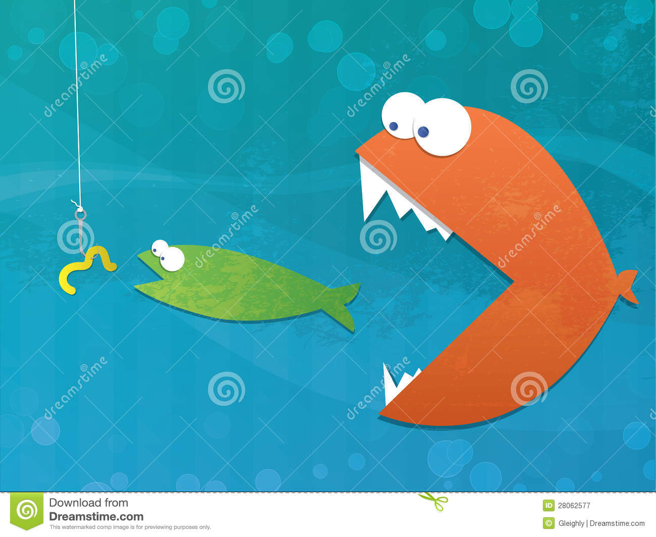 Illustration of a fish eating a fish eating a worm on a hook. Business ...