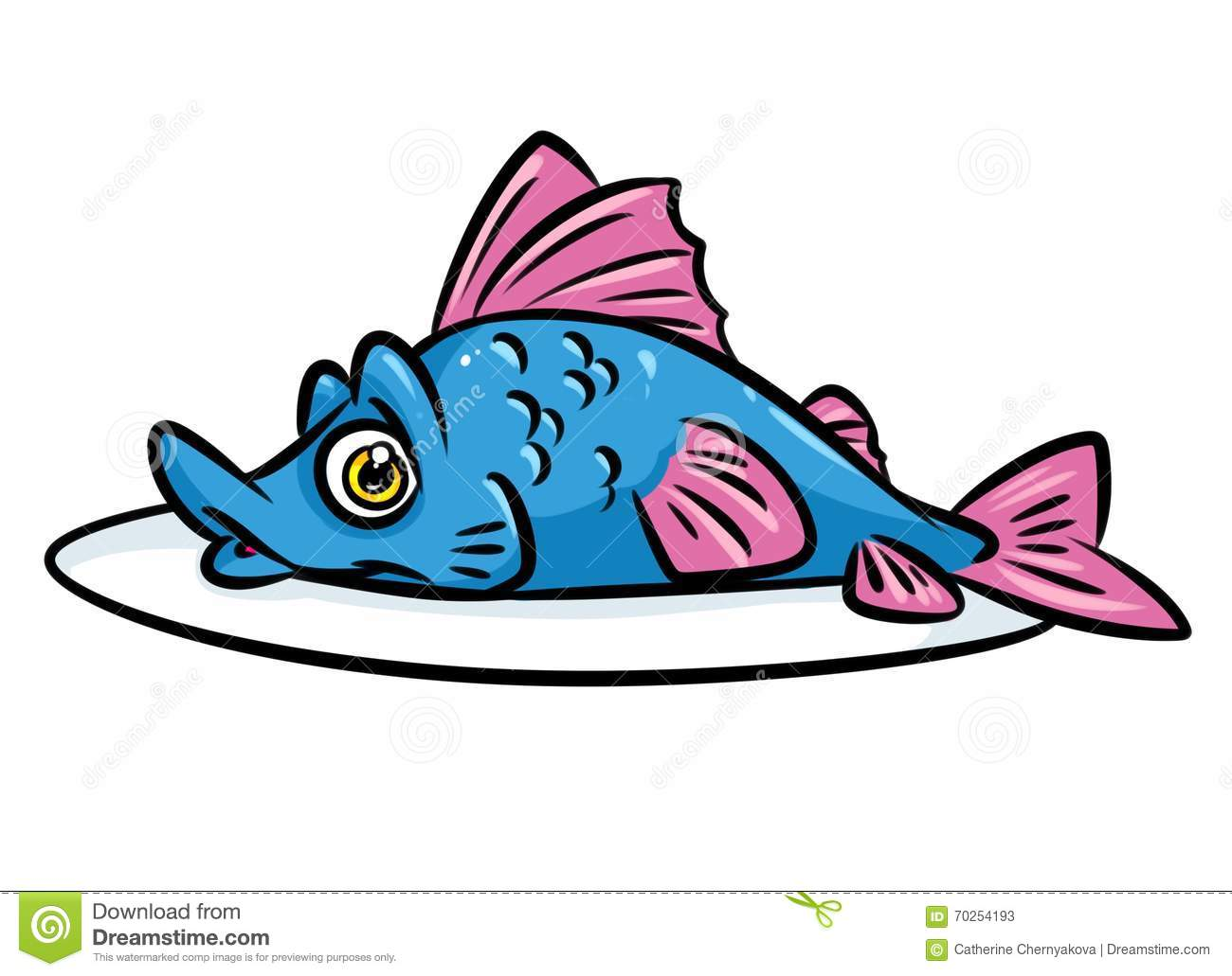 Fish Food Plate Cartoon Illustration Stock Illustration