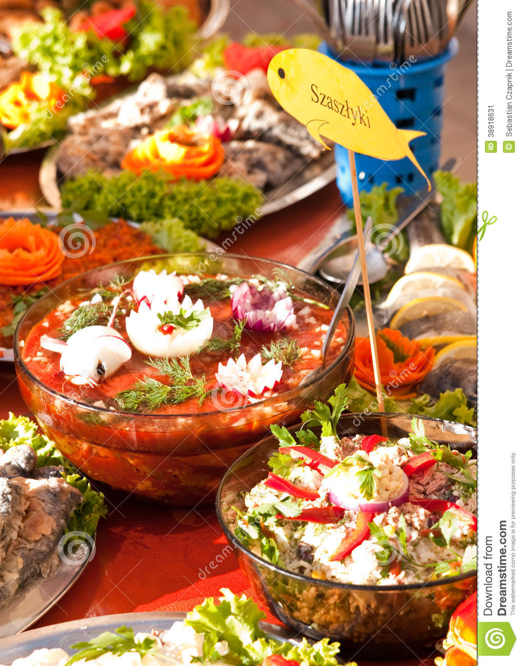 Fish foods buffet style stock photo image 38918631 for Fish buffet near me