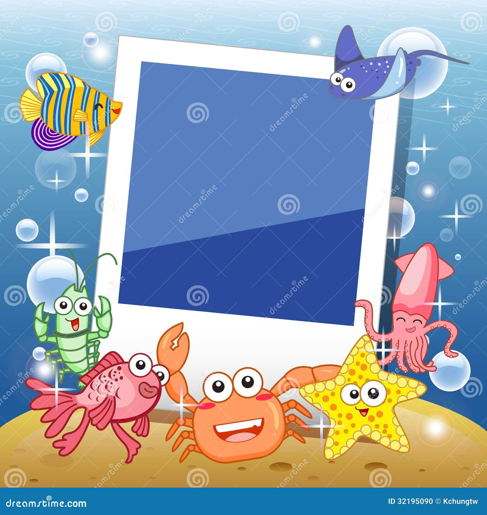 Fish frame stock vector image of bottom illustration for Fish photo frame