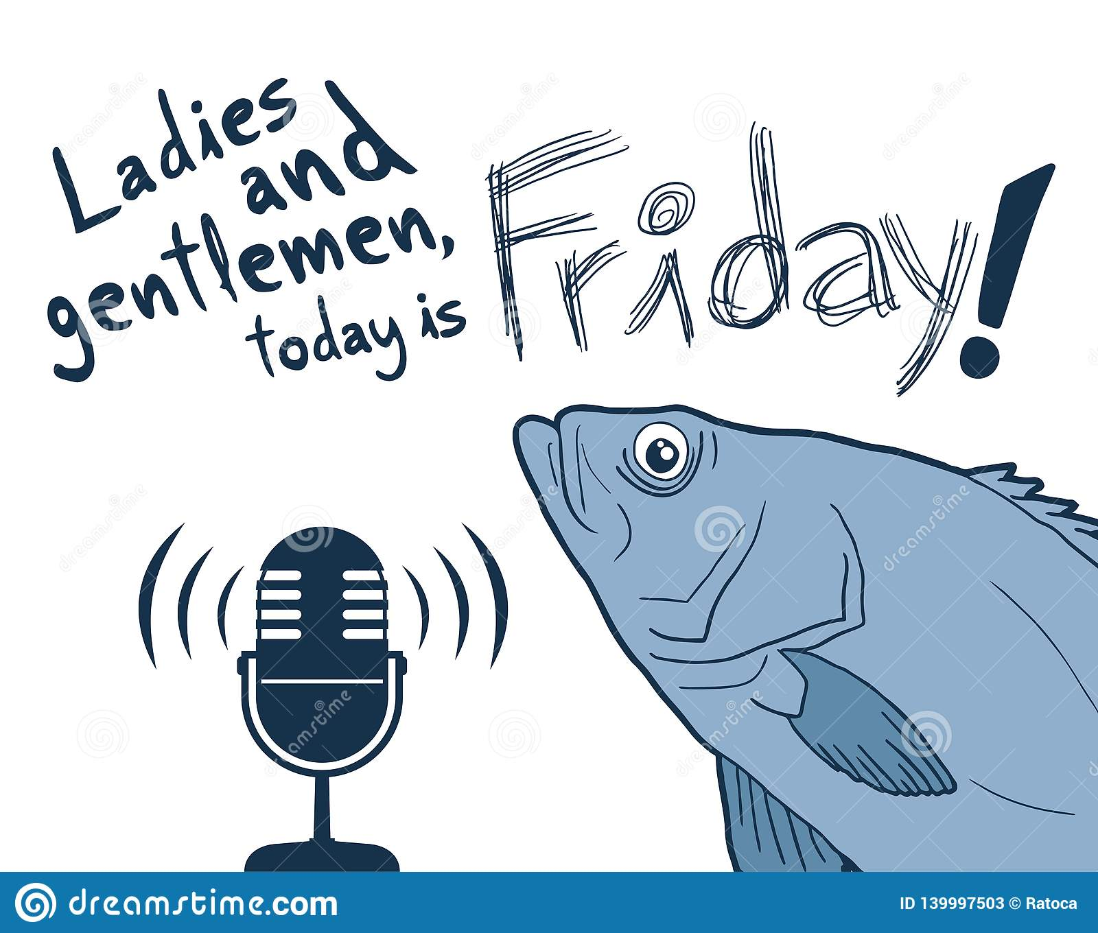 Fish And Funny Friday Message Design Stock Vector