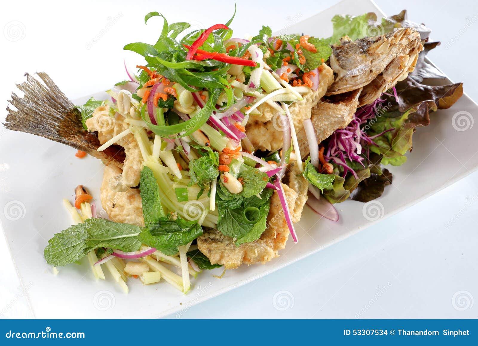 Fish Green Mango Salad Deep Fried Barramundi Thai Food