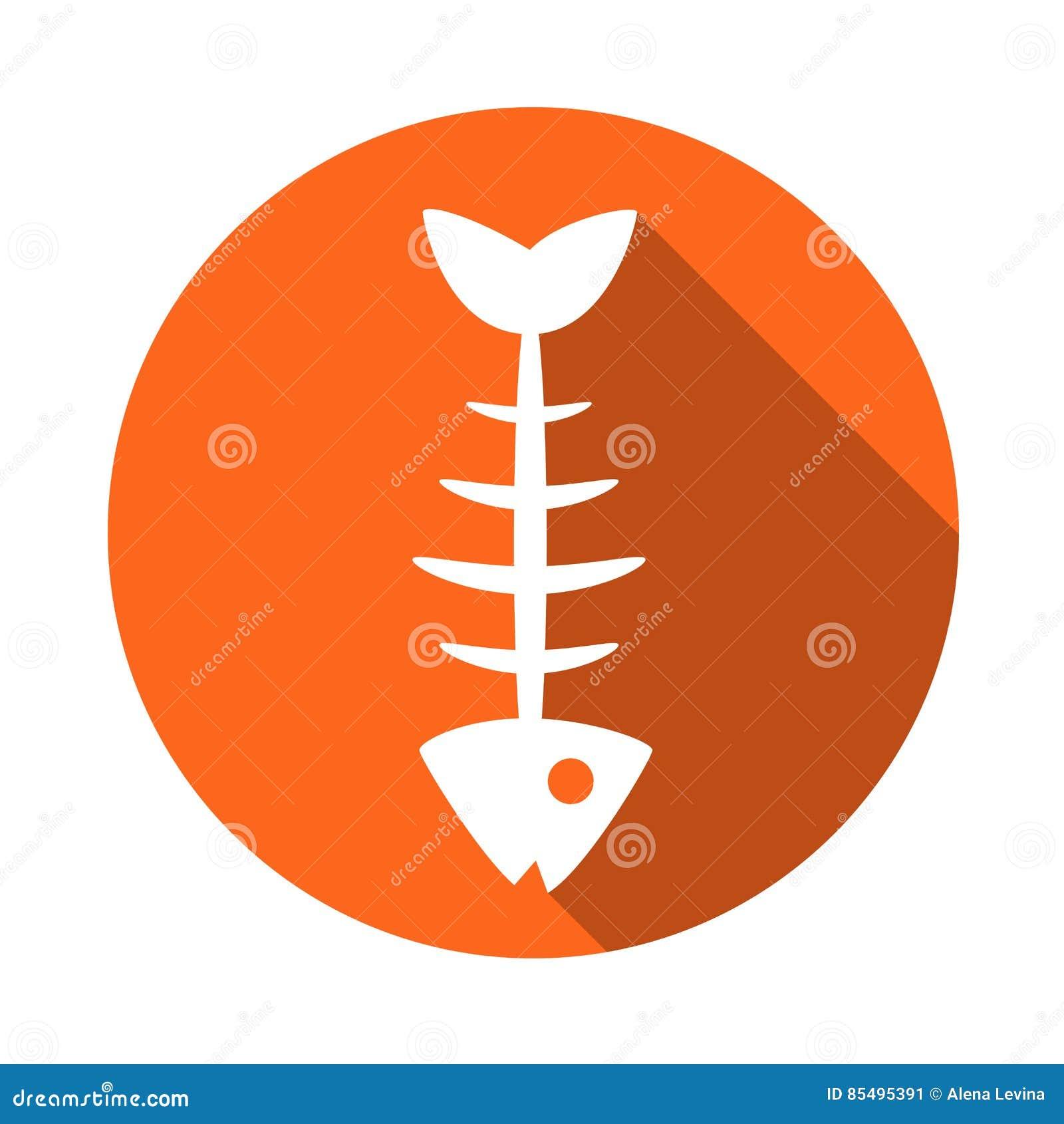 Fish icon . The icon of the fish bones. Fish skeleton icon. Fishing icon