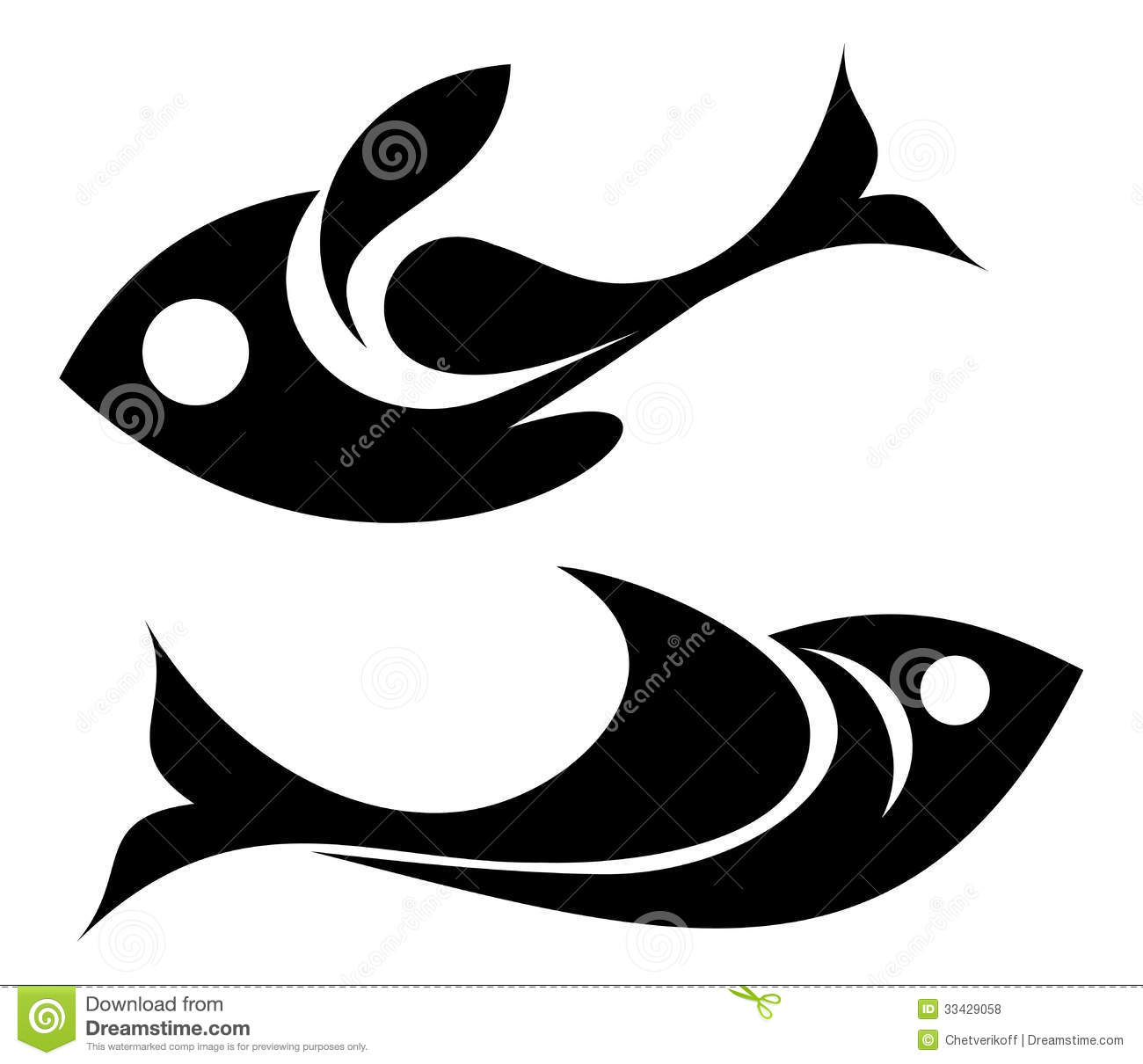 Fish icon - isolated vector silhouette on white background.