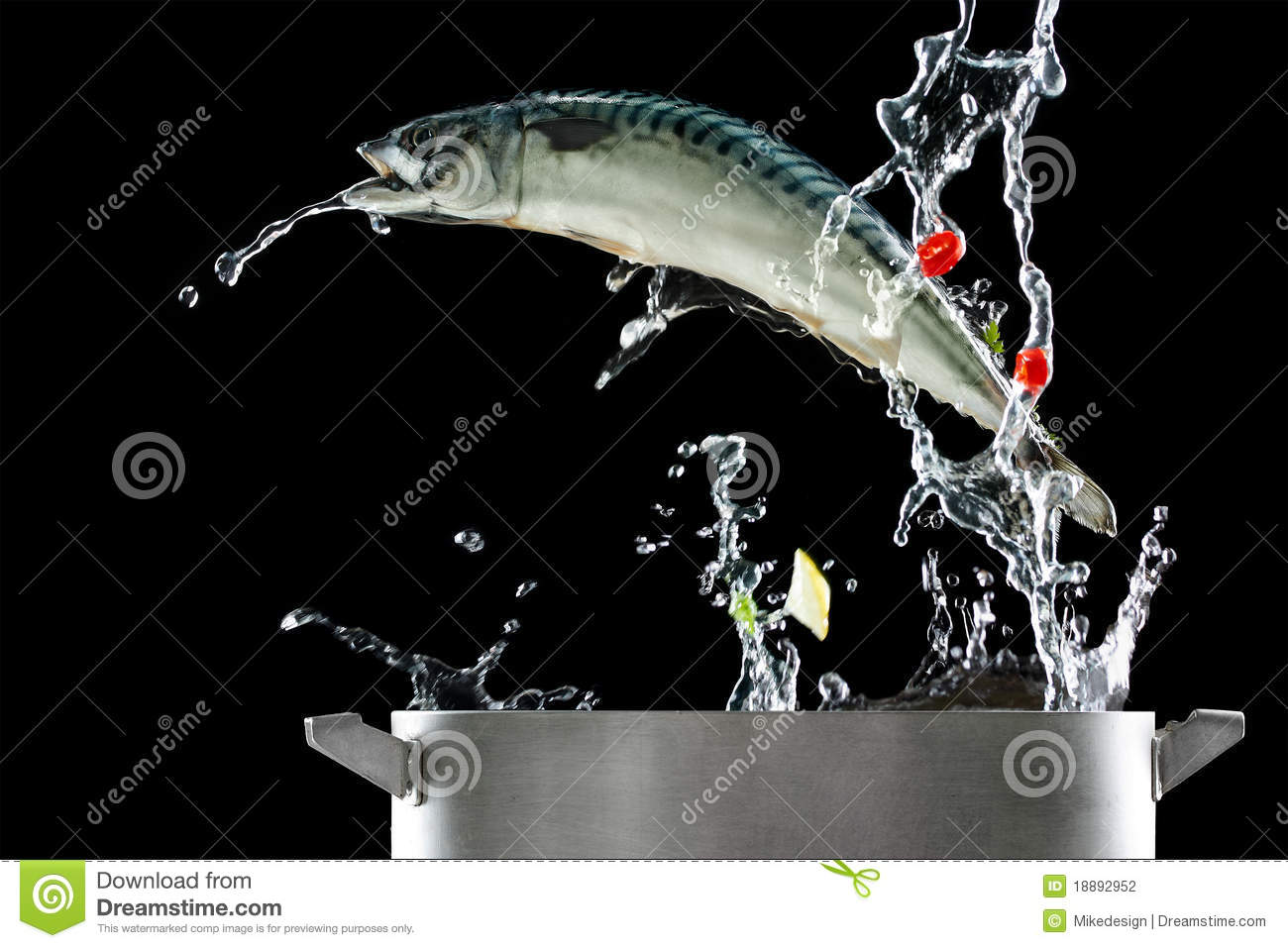 Fish jumping out of pat