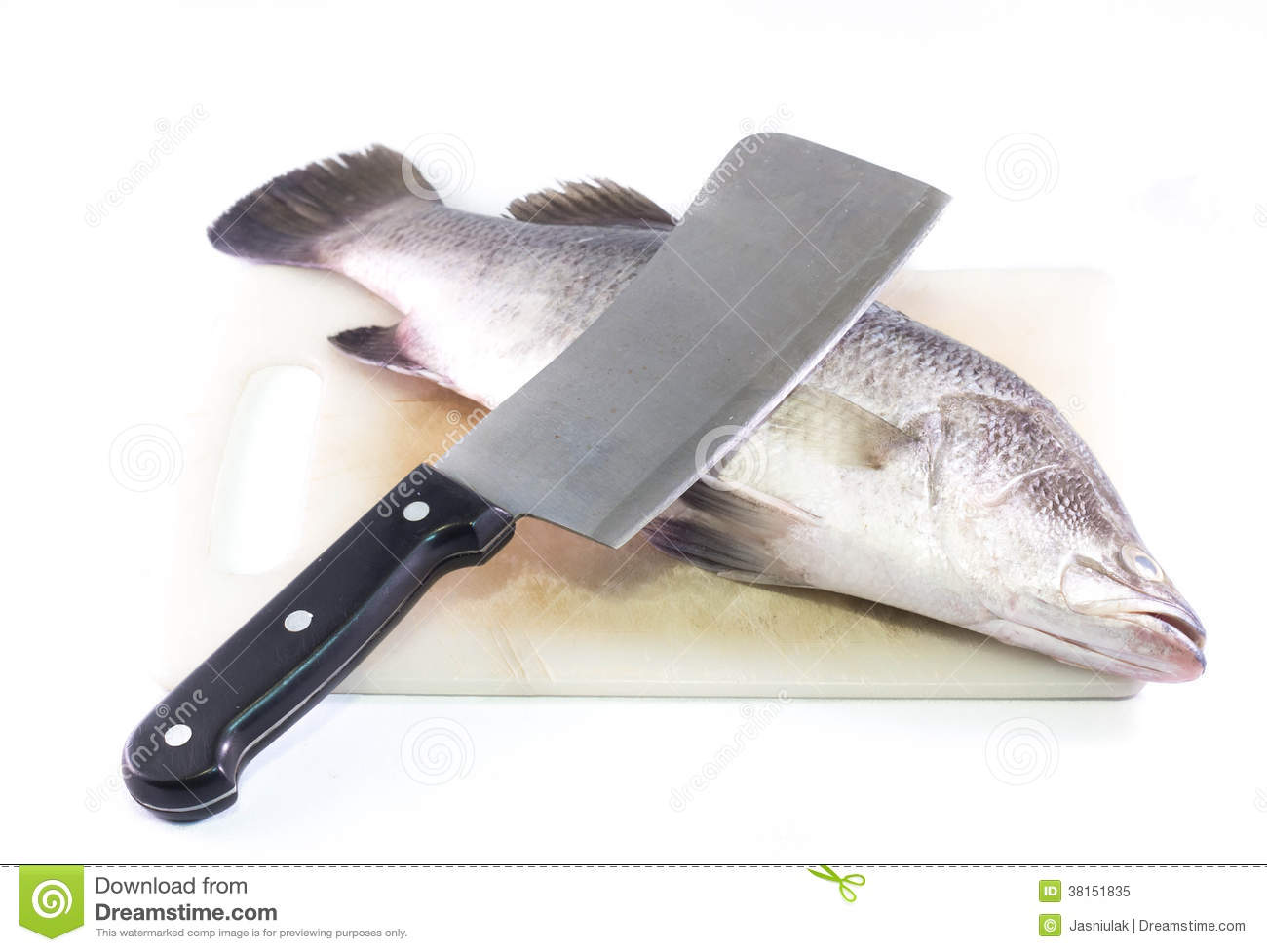 fish and knife on a cutting board royalty free stock