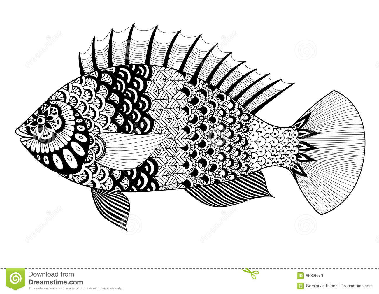 Line Art T Shirt Design : Fish line art design for coloring book adult tattoo