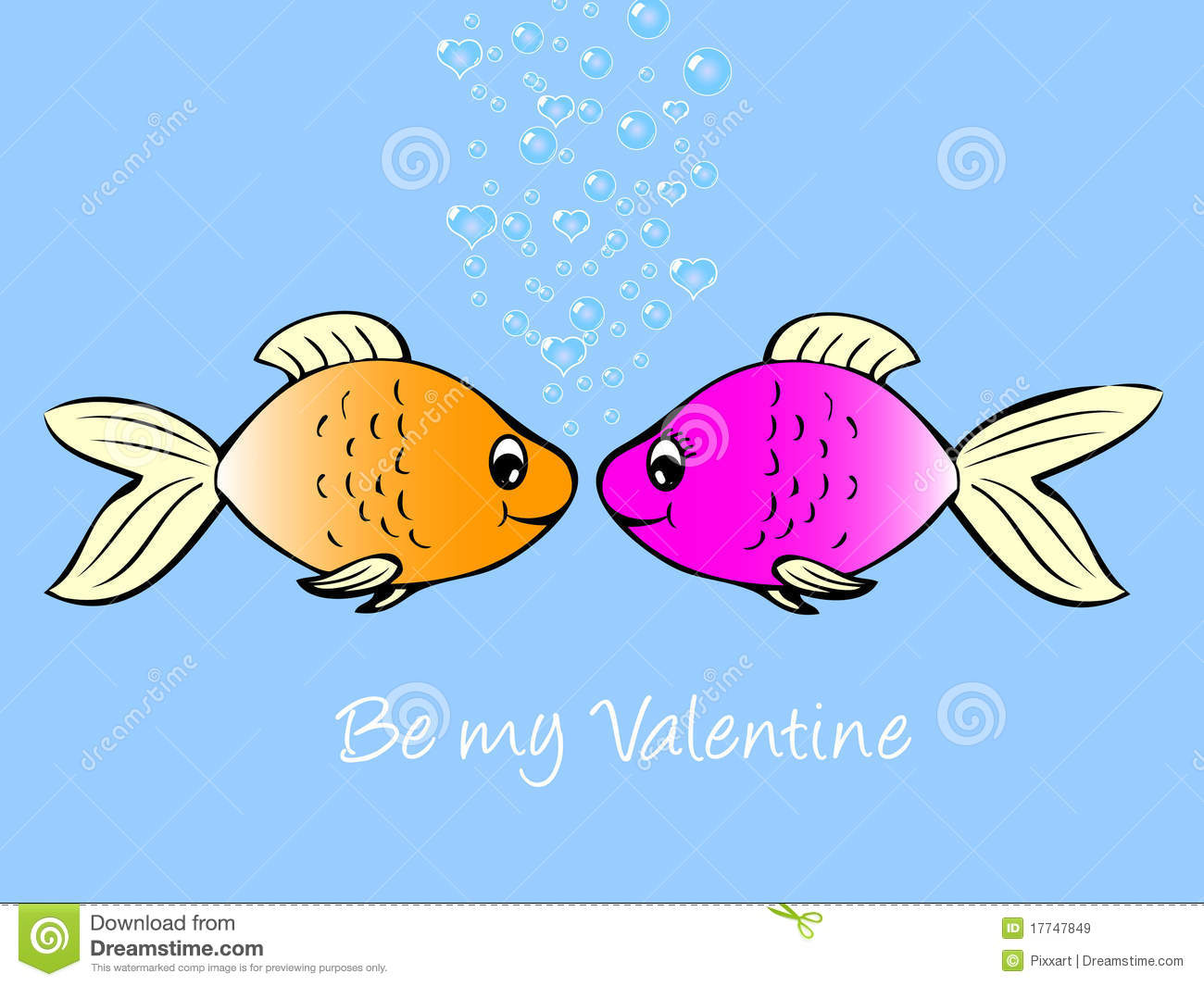Fish in love stock vector image of blue pink concept for Fish 2 flirt