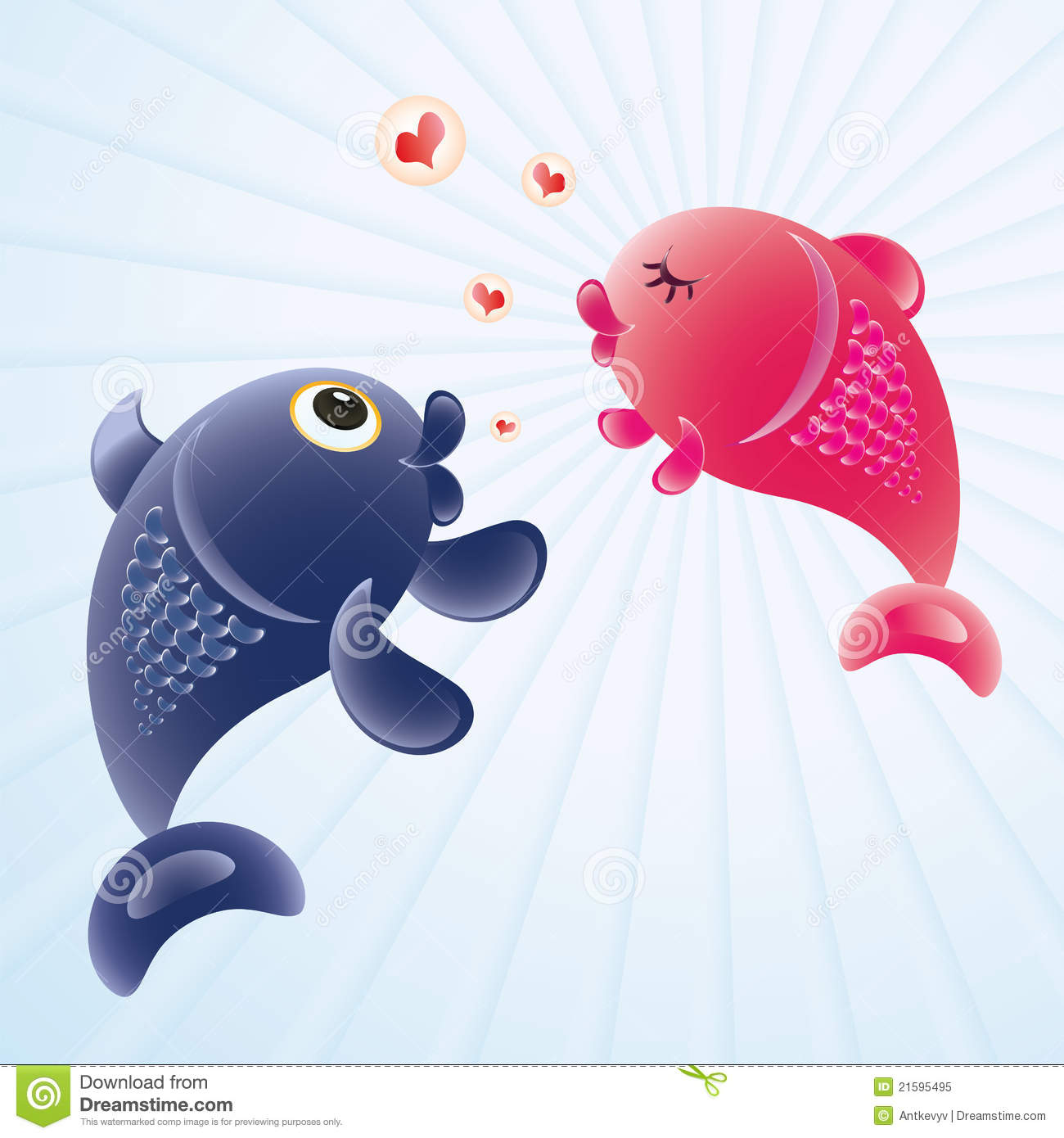 Pair of fish valentine vector illustration for I love the fishes