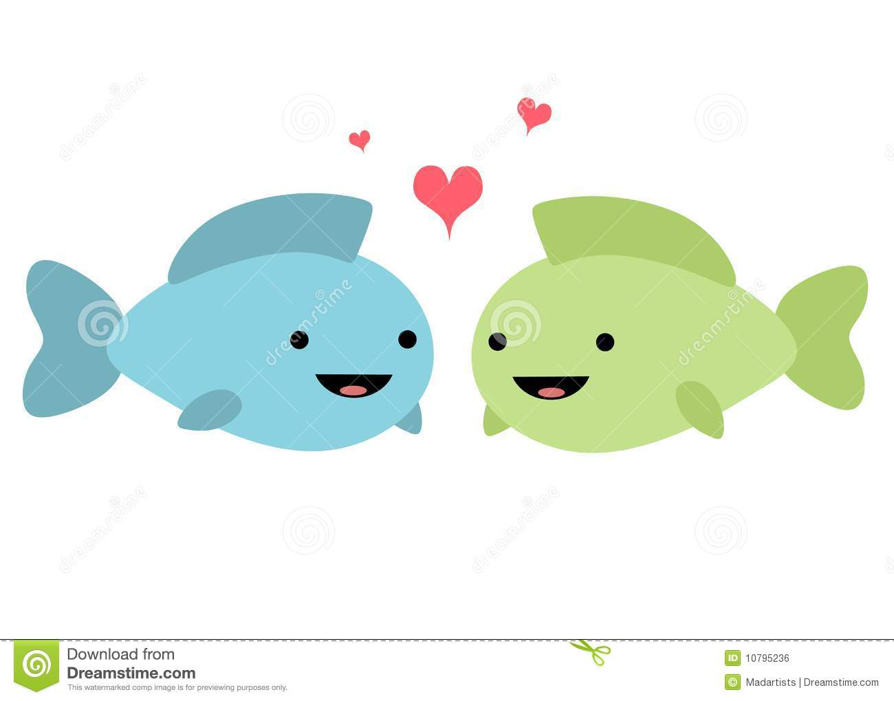 Fish In Love Illustration Royalty Free Stock Image - Image: 10795236
