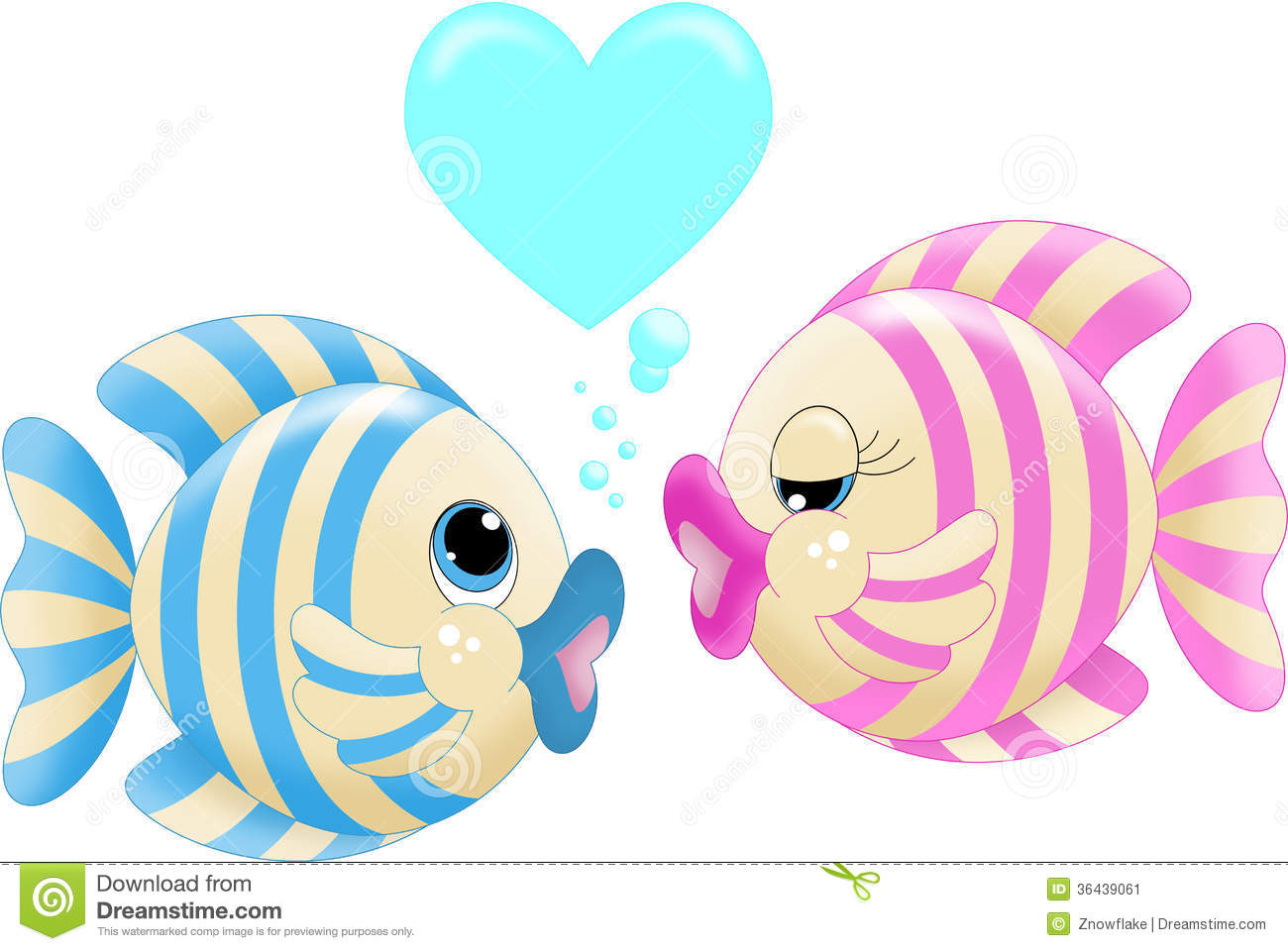 An illustration featuring two fish kissing.