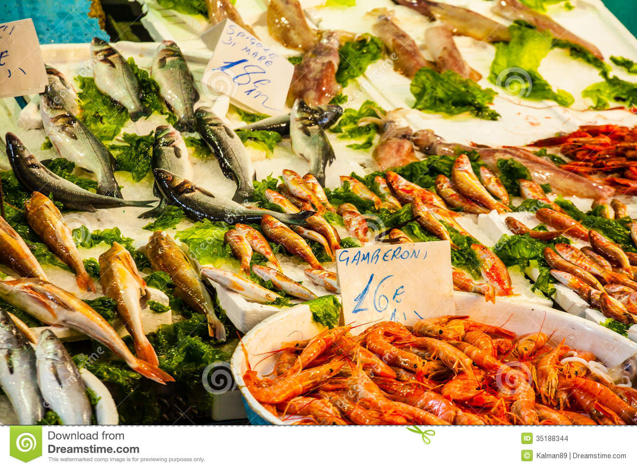 Fish Market - Fresh Seafood Stock Photo - Image of italy, nobody: 35188344