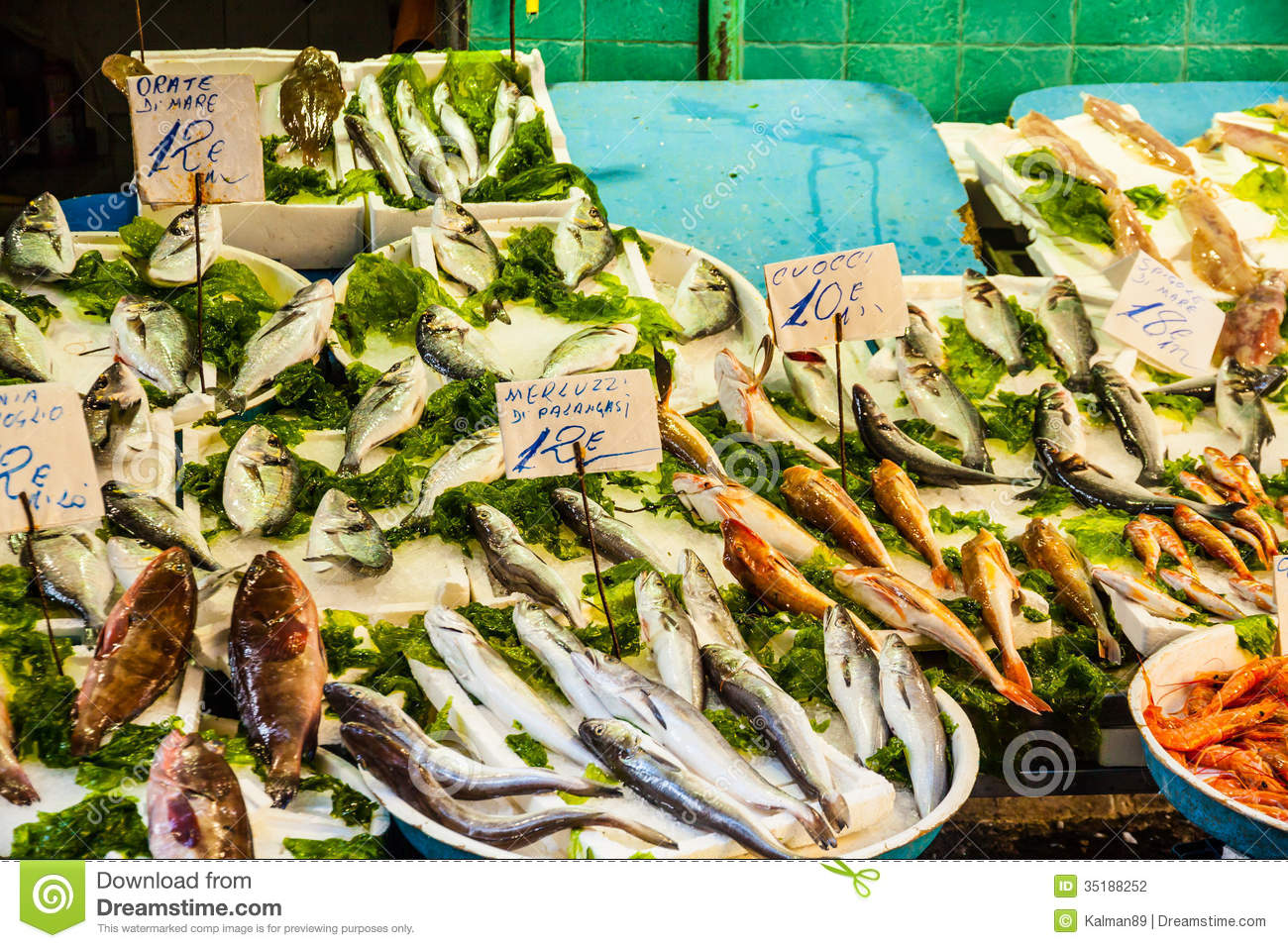 Fish market in italy stock photo image of cutting for Is fish seafood