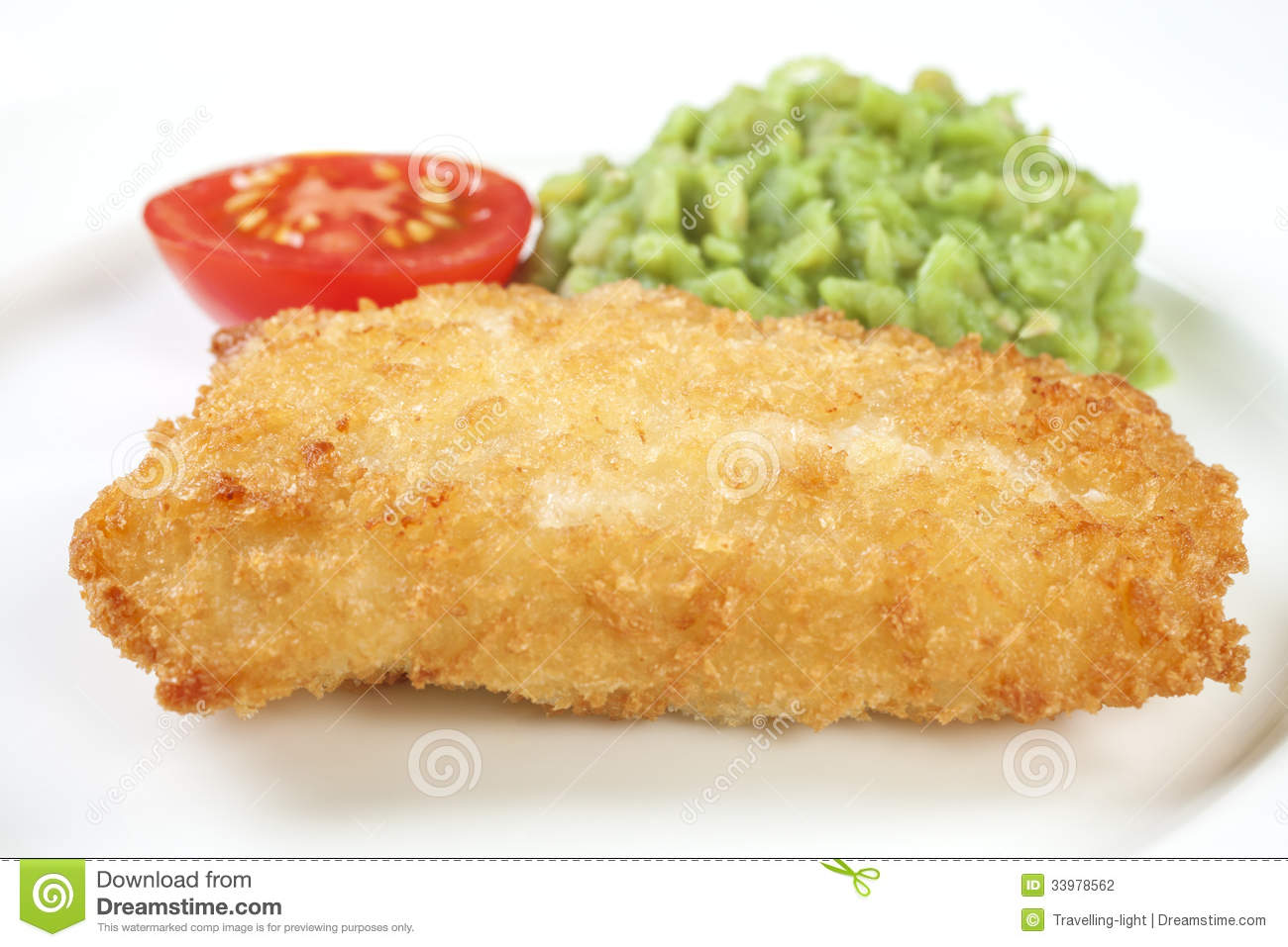 Fish and mushy peas stock photography image 33978562 for Breaded fish in oven