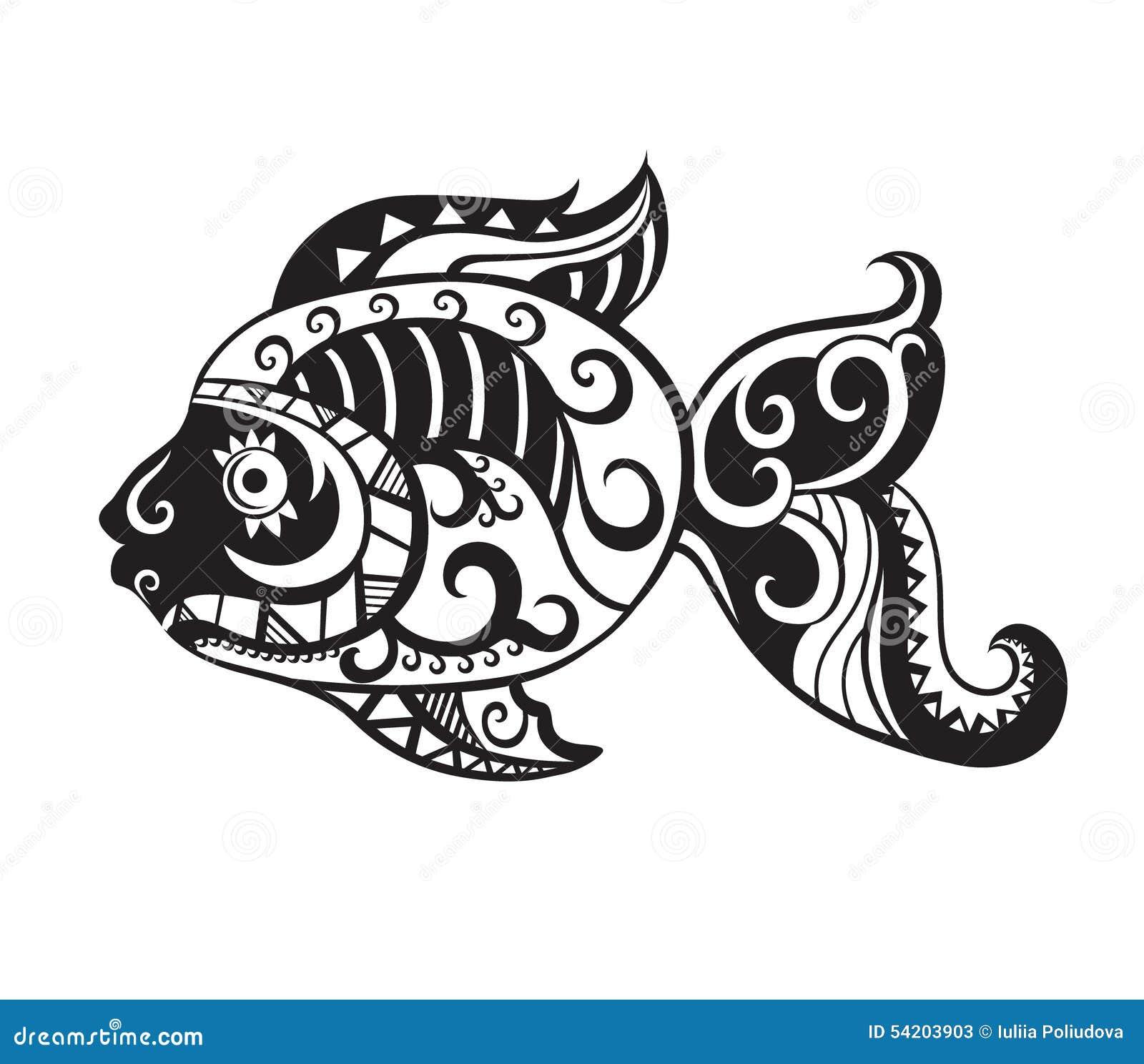 Maori Fish Tattoo: Fish With Ornaments In The Style Of The Maori Stock