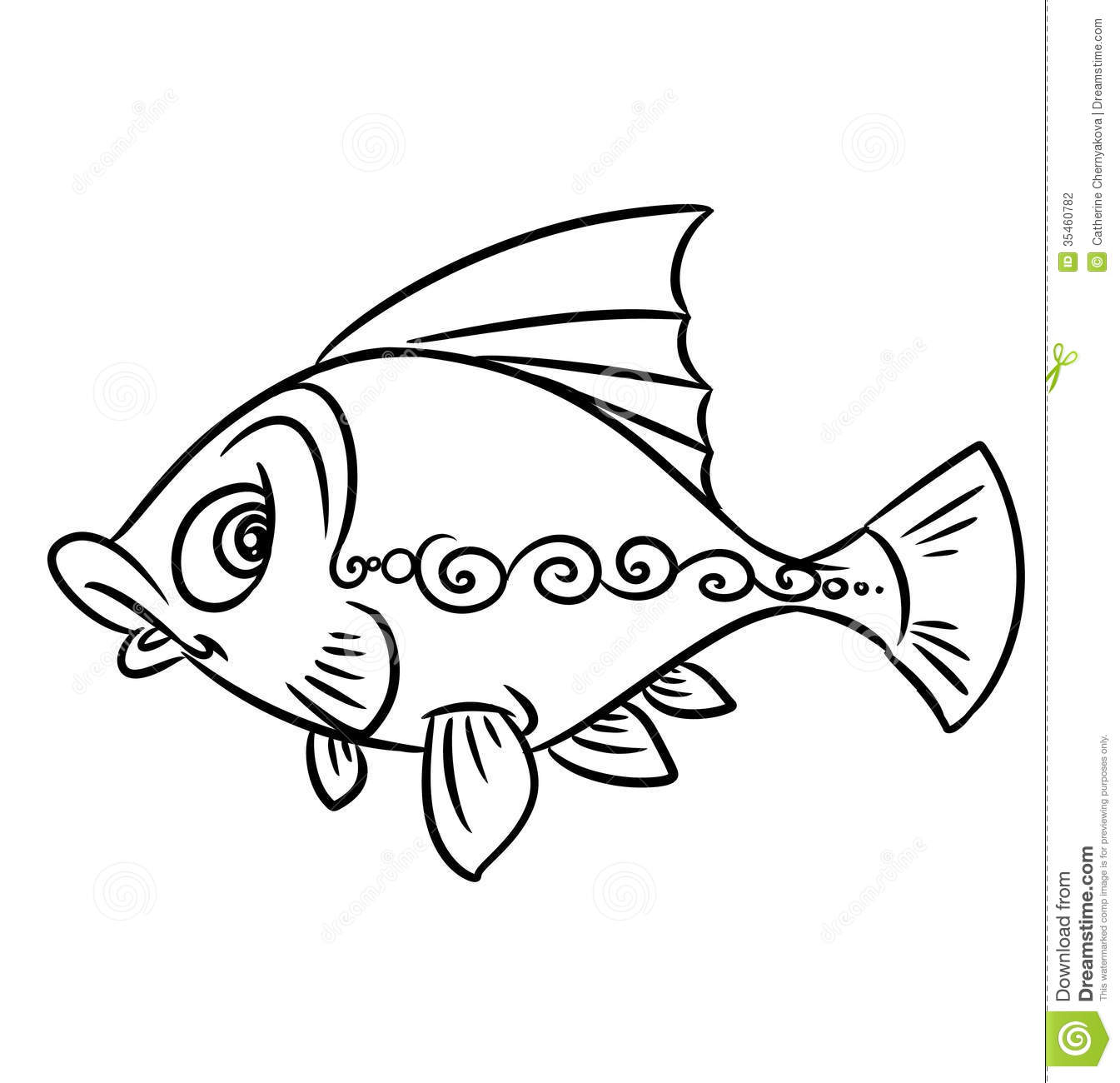 Fish Pattern Coloring Pages Stock