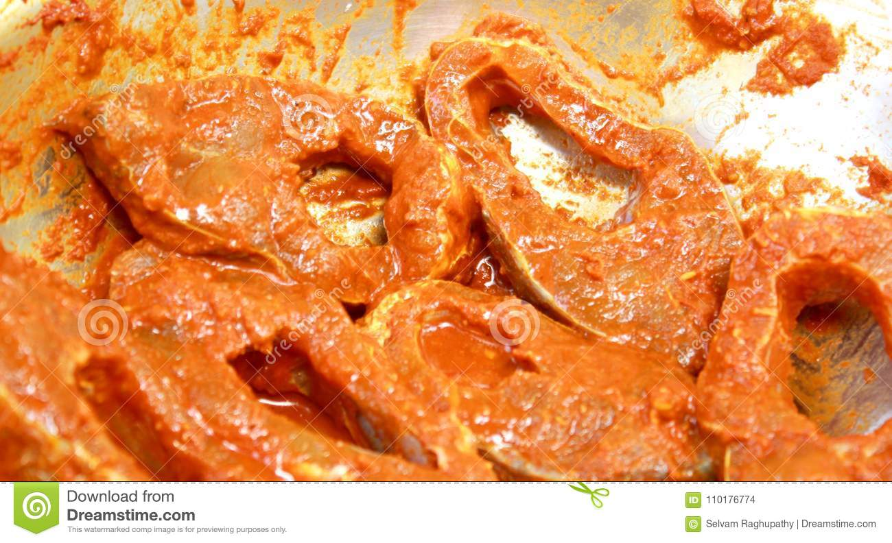 Fish Pieces With Spicy Masala Ready For Cook  Stock Photo