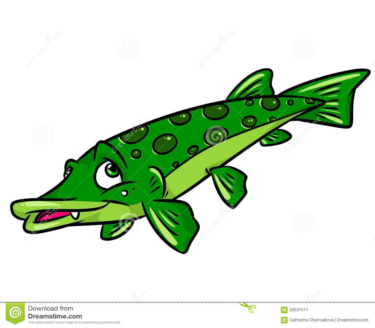 Fish Pike Cartoon Illustration Stock Illustration ...