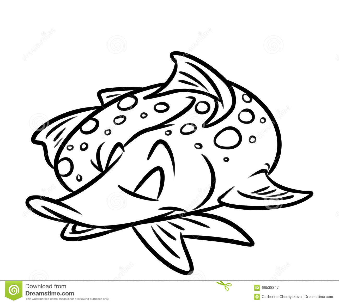 Fish Pike Sleeps Cartoon Coloring Pages Stock Illustration Image