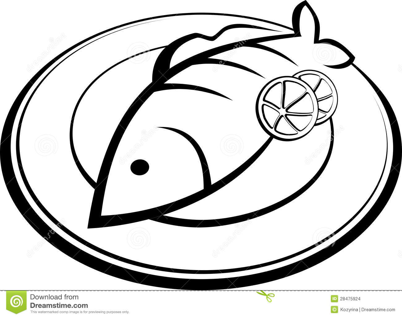 Fish on a plate stock vector. Image of vector, symbol