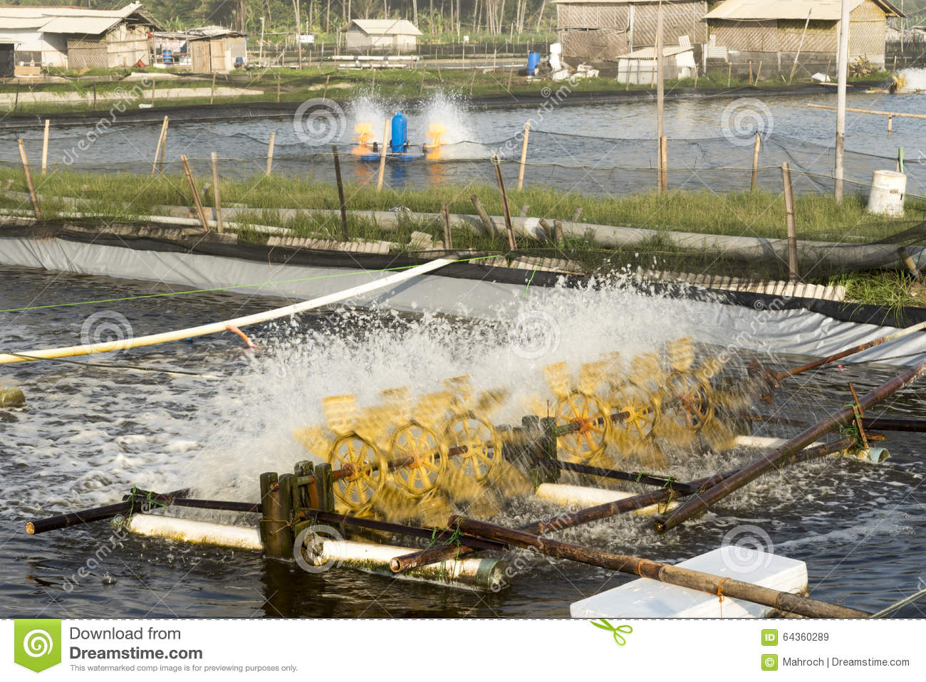Fish pond aeration stock photo image 64360289 for Fish pond aerator