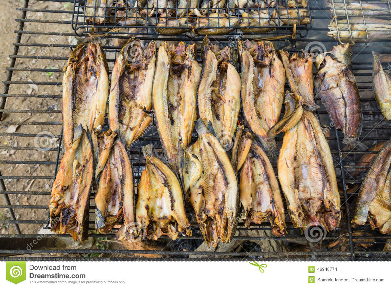 Fish Preservation Of Countryside In Thailand By Fire And Smoke Stock Photo Image Of Fire Countryside 46940774