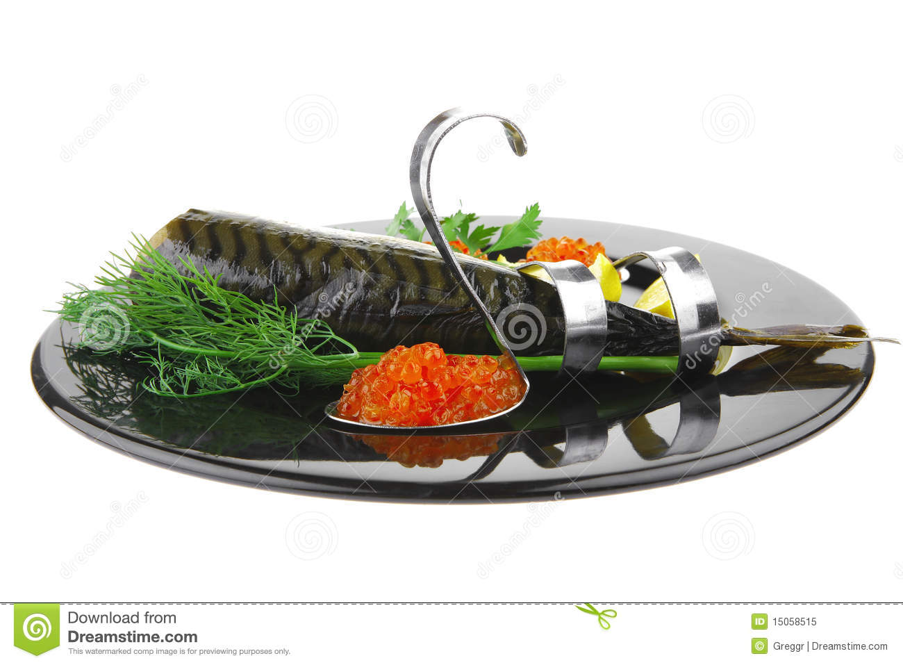 Fish and red caviar on black royalty free stock photo for Black caviar fish
