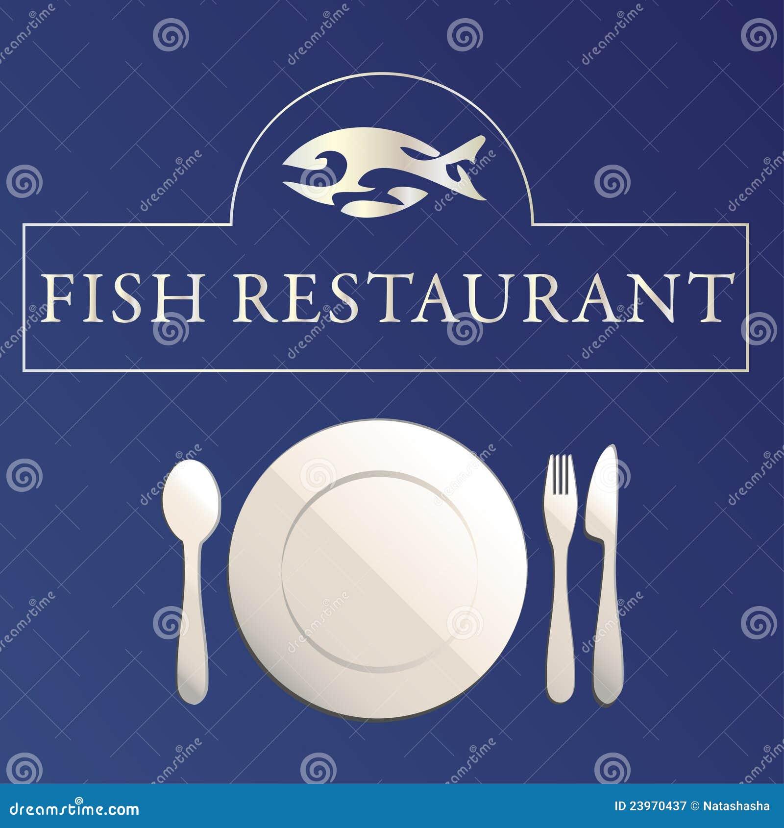 Fish restaurant symbol vector illustration cartoondealer for Fish and bone restaurant