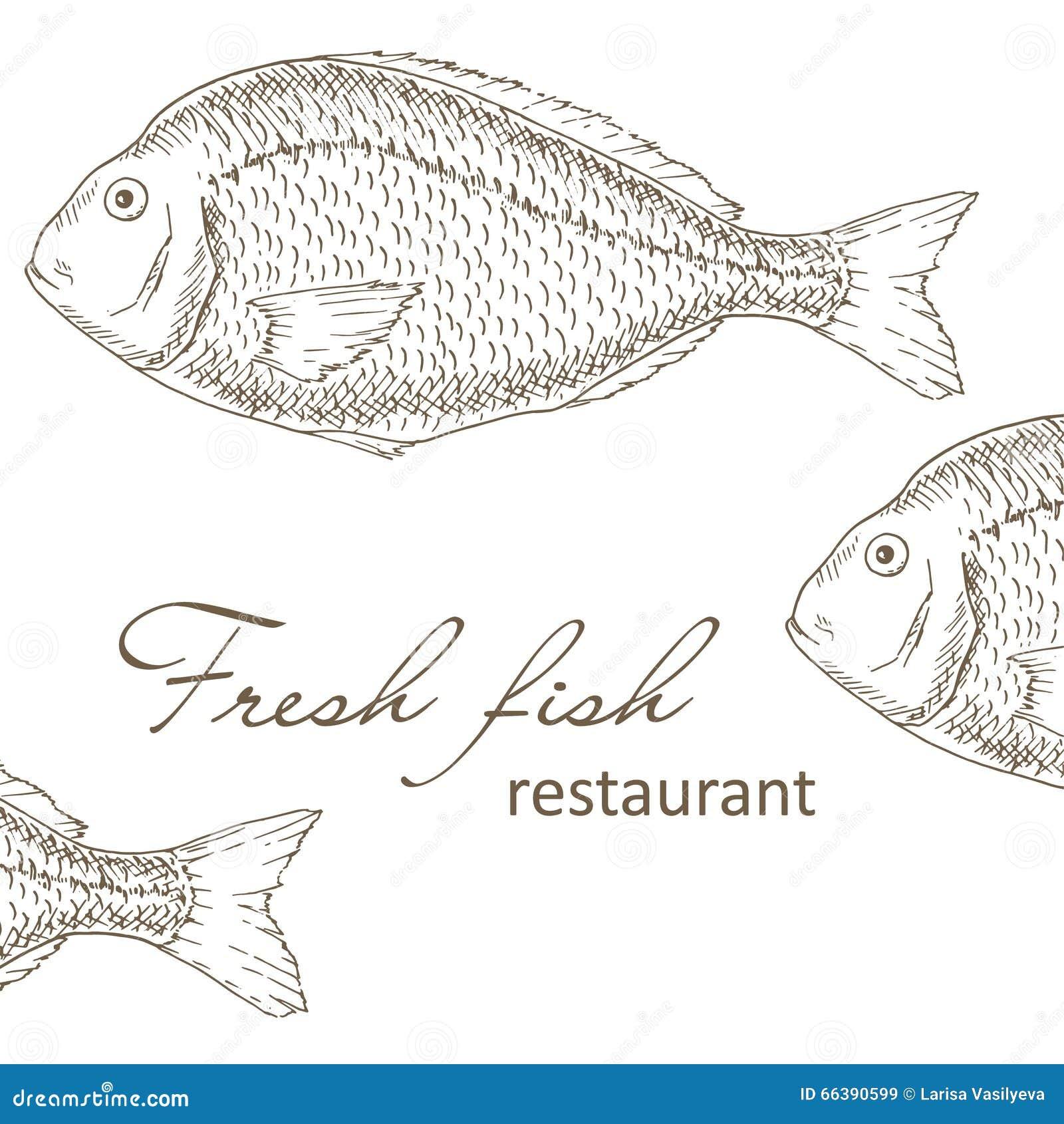 fish restaurant cover design stock vector