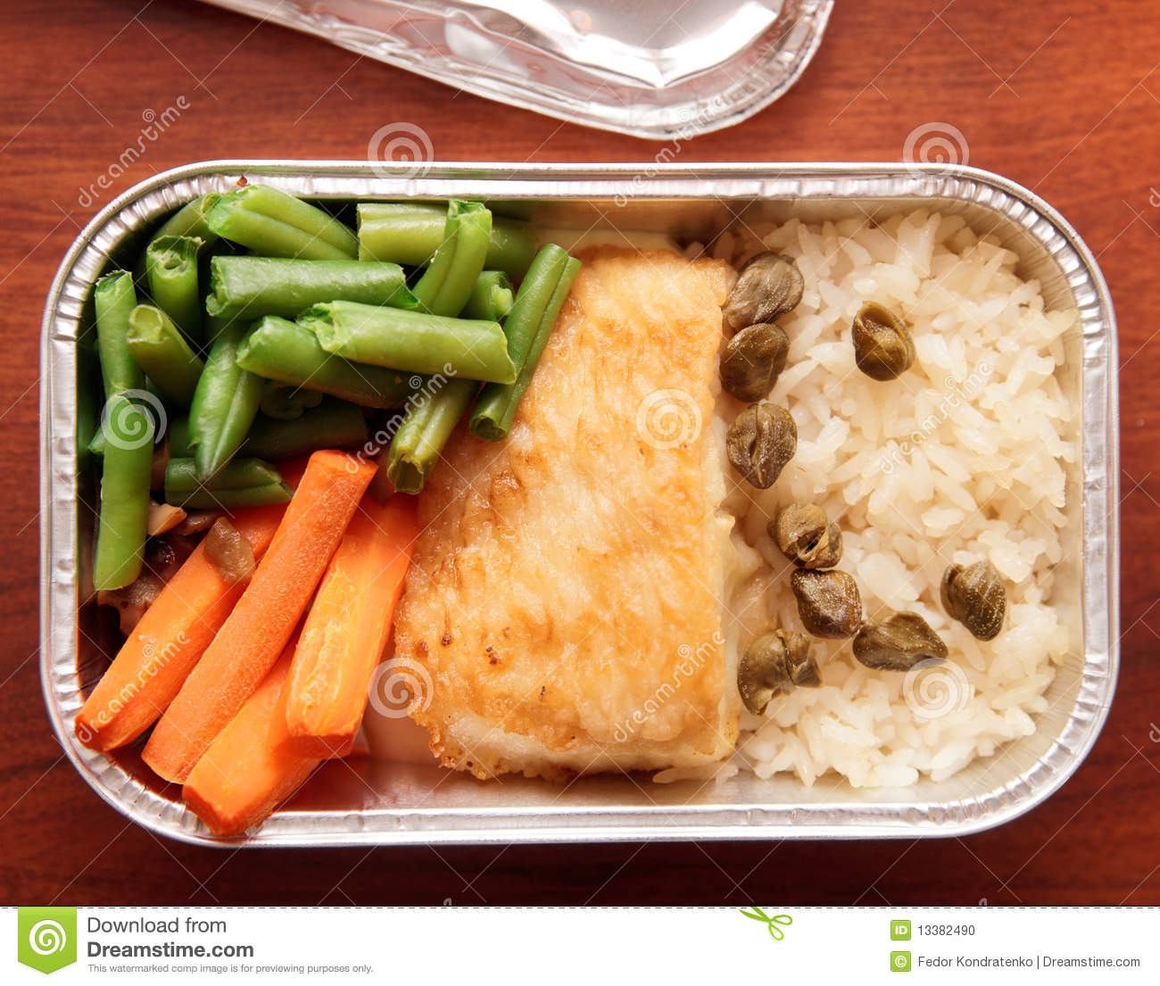 Fish and rice - airline meal